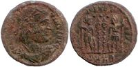 Constantine the Great Gloria Exercitus with                     three dots above banners