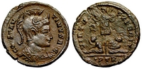 Constantine the Great VIRTVS EXERCIT wreath in                     left field
