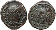 Constantine the Great VICTORIAE LAET PRINC PERP                   from Arles unlisted as laureate, Constantine normally                   wears a helmet