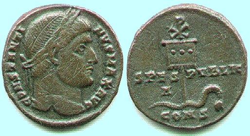 Bronze Coin 327 Constantinople Mint